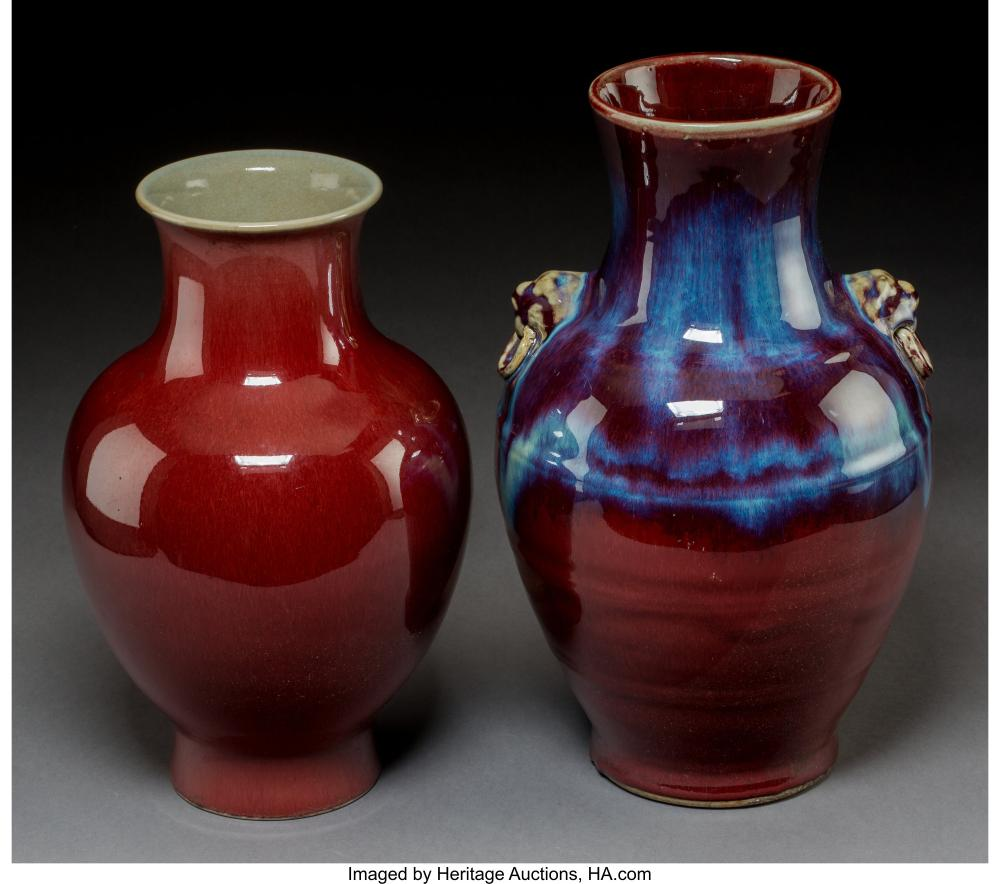 Lot 21004: Two Chinese Flambé Glazed Porcelain Vases, Qing Dynasty 12-1/4 x 7-1/2 inches (