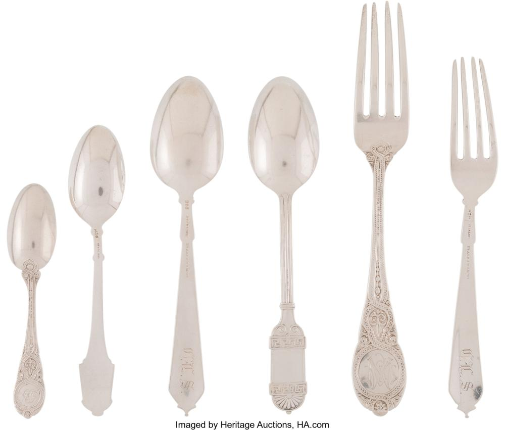 Lot 21023: A Group of Twenty-Five American Silver Flatware Pieces, late 1