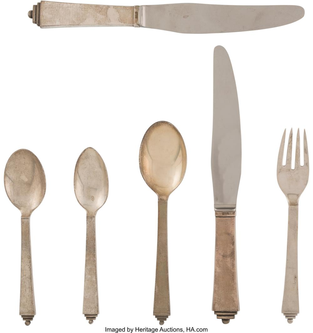 A Six-Piece Group of Georg Jensen Pyramid Pattern Silver Flatware, Copenhagen, D