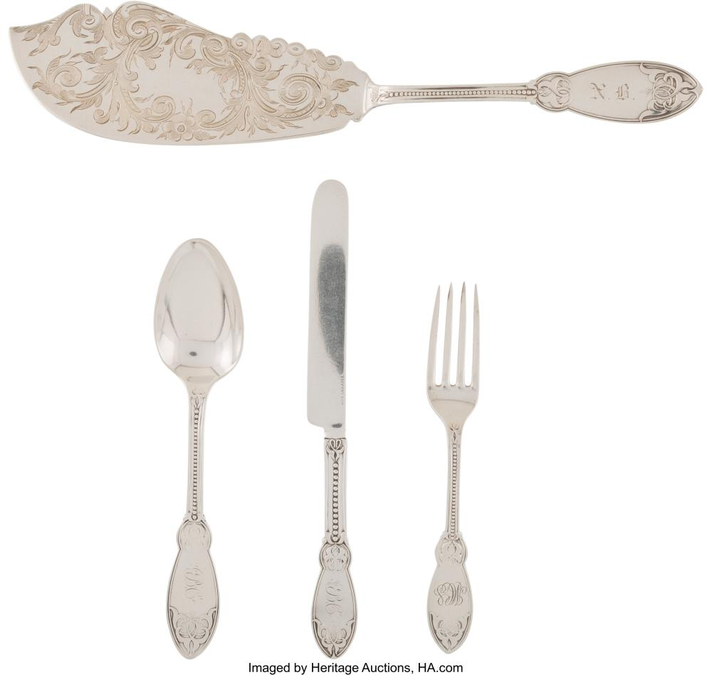 Lot 21029: A Group of Nine John Polhamus Oriental Pattern Silver Flatware Pieces, New York,