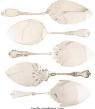 Lot 21034: A Group of Five American Silver and Coin Silver Pie Servers, late 19th century Marks: (various)