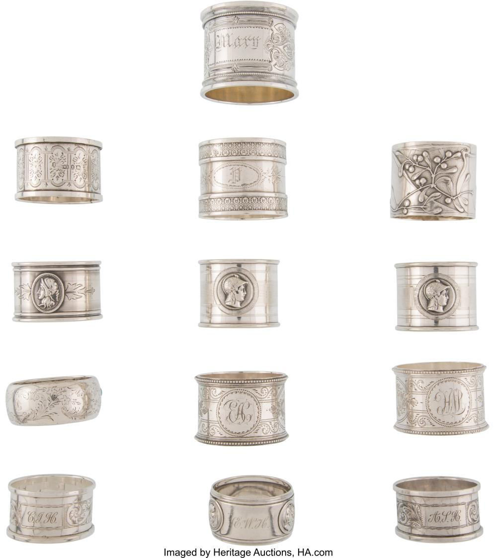 A Group of Thirteen Silver and Silver-Plated Napkin Rings of Various Makers, lat