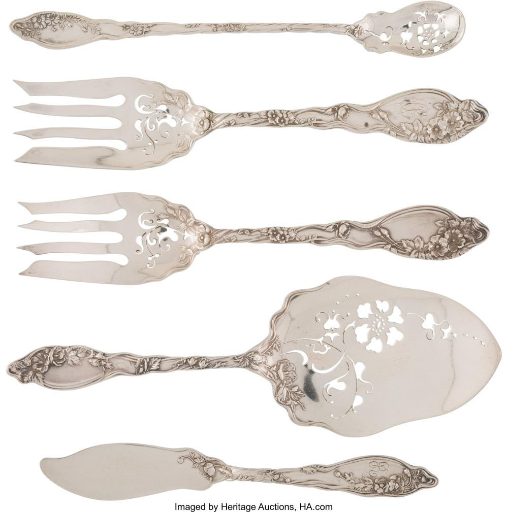 A Five-Piece International Silver Co. Mille Fleurs Pattern Silver Servers, Merid