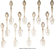 Lot 21022: Twelve Tiffany & Co. Richelieu Pattern Silver Pastry Forks, New York, designed 1