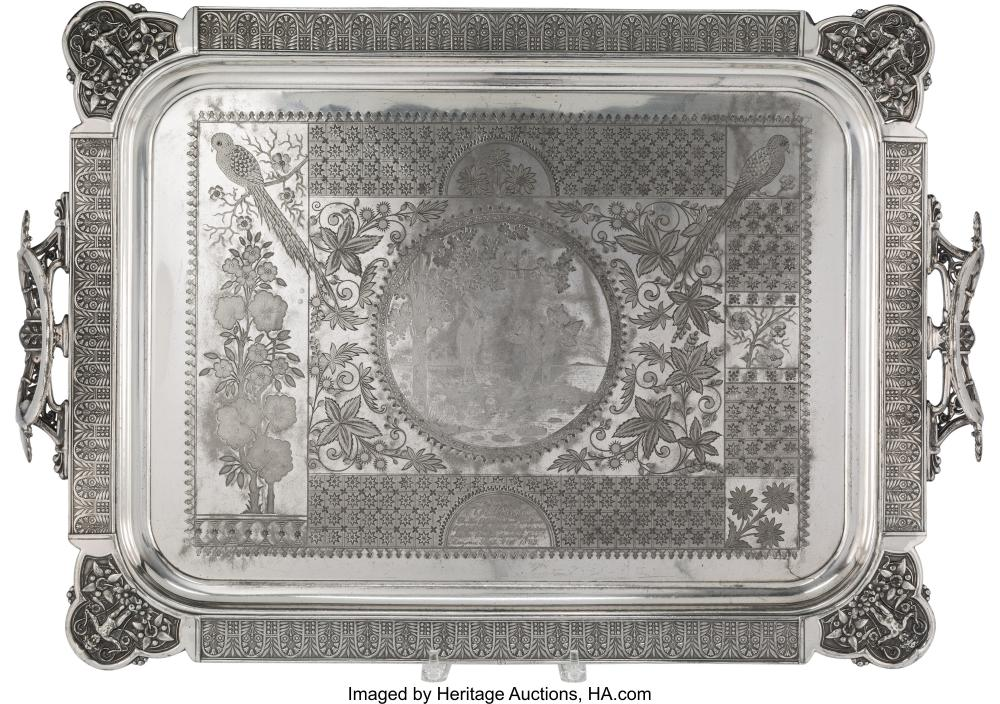 A Simpson, Hall, Miller & Co. Silver-Plated Tray, Wallingford, Connecticut, circ