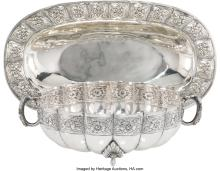 Lot 21047: Two Mexican Aztec Rose Pattern Silver Dishes, early 20th century Marks: (various
