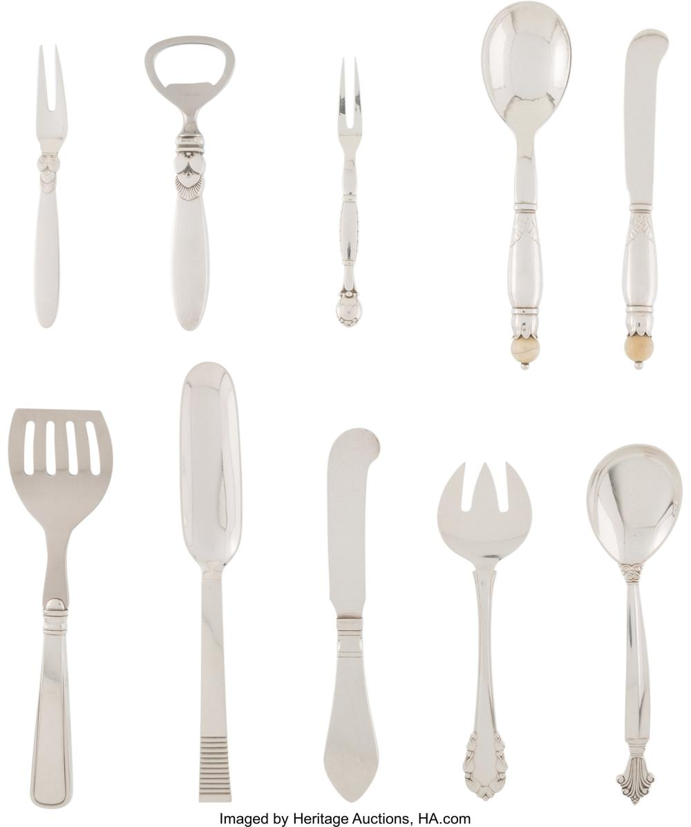 A Group of Fifteen Georg Jensen Silver Flatware Pieces, Copenhagen, Denmark, 19t