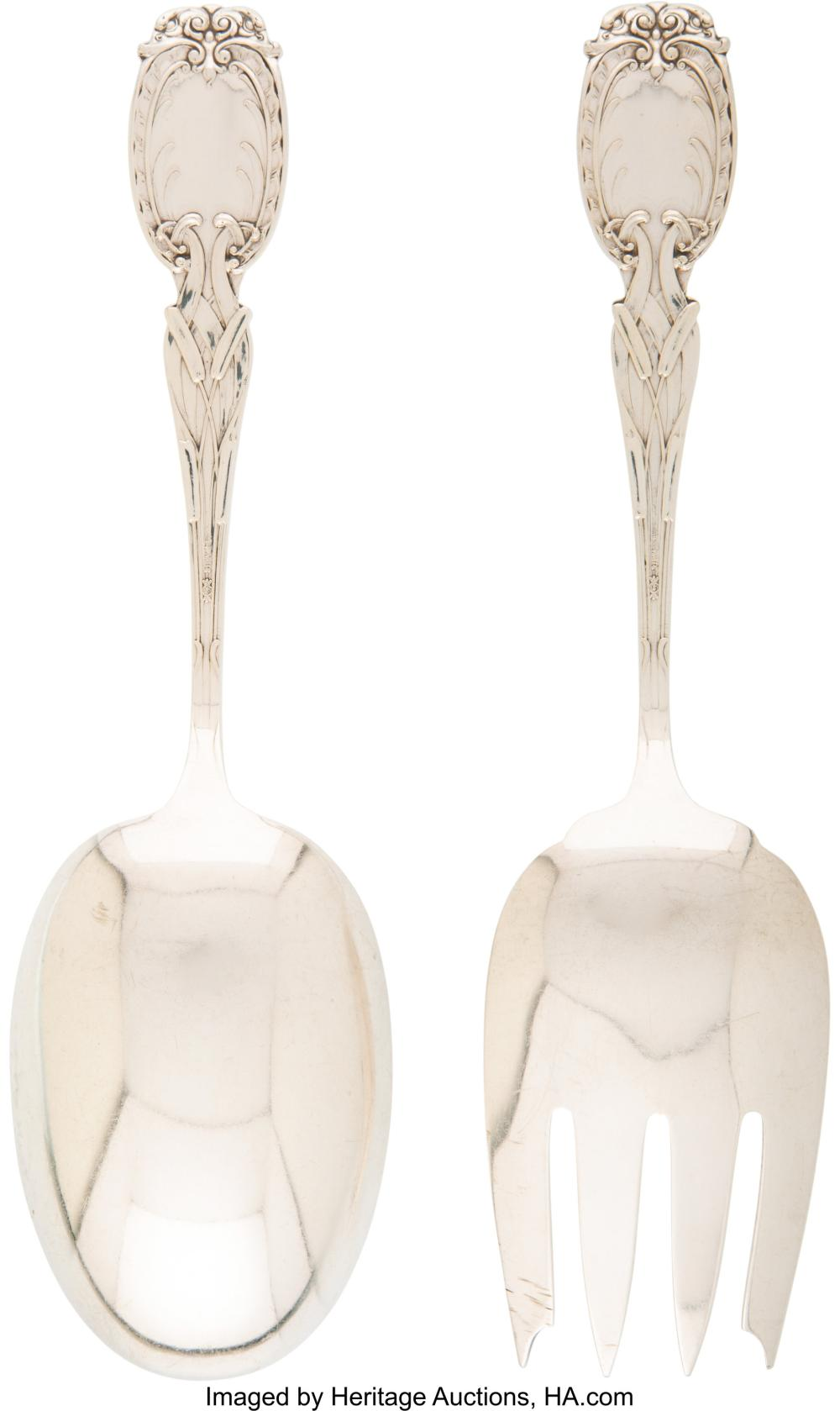 Lot 21056: A Frank M. Whiting Co. Cattails Pattern Silver Salad Serving Set, North Attlebor