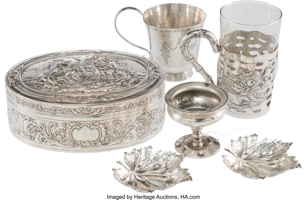 Six Silver and Silver-Plated Table Articles, 19th-early 20th century Marks: (various