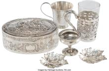 Lot 21046: Six Silver and Silver-Plated Table Articles, 19th-early 20th century Marks: (various