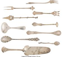 Lot 21041: A Ten-Piece Group of American Silver Flatware Servers, late 19th-early 20th cent