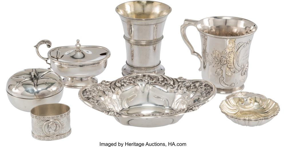 Eight Silver Table Articles, mid-19th-early 20th century Marks: (various) 5-1/4