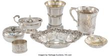 Lot 21048: Eight Silver Table Articles, mid-19th-early 20th century Marks: (various) 5-1/4