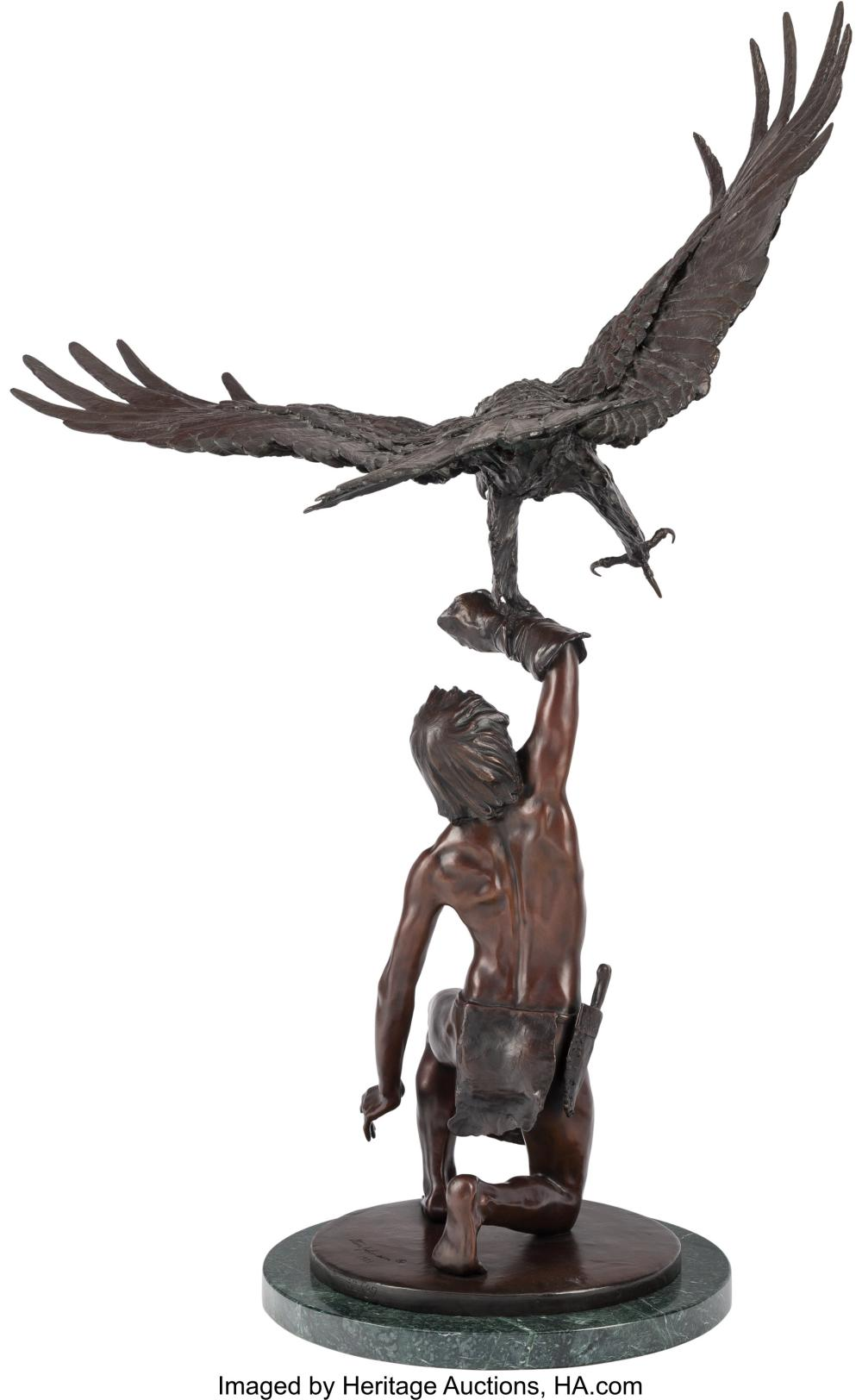 Lot 21079: Stanley Quentin Johnson (American, 1939-2017) Eagle in Flight, 1981 Bronze with