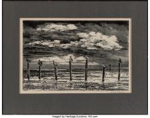 Lot 21078: Adolf Arthur Dehn (American, 1895-1968) Key West Beach, 1945 Lithograph on wove