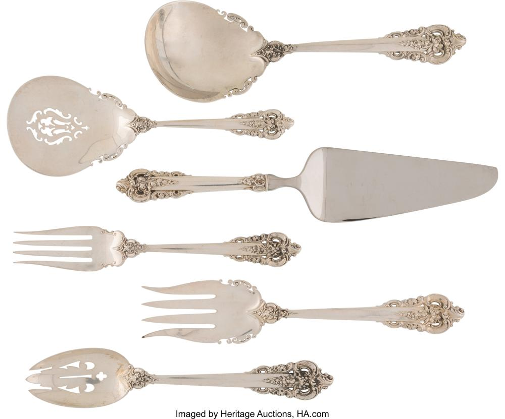 A Group of Six Wallace Grand Baroque Pattern Silver Serving Pieces, Wallingford,