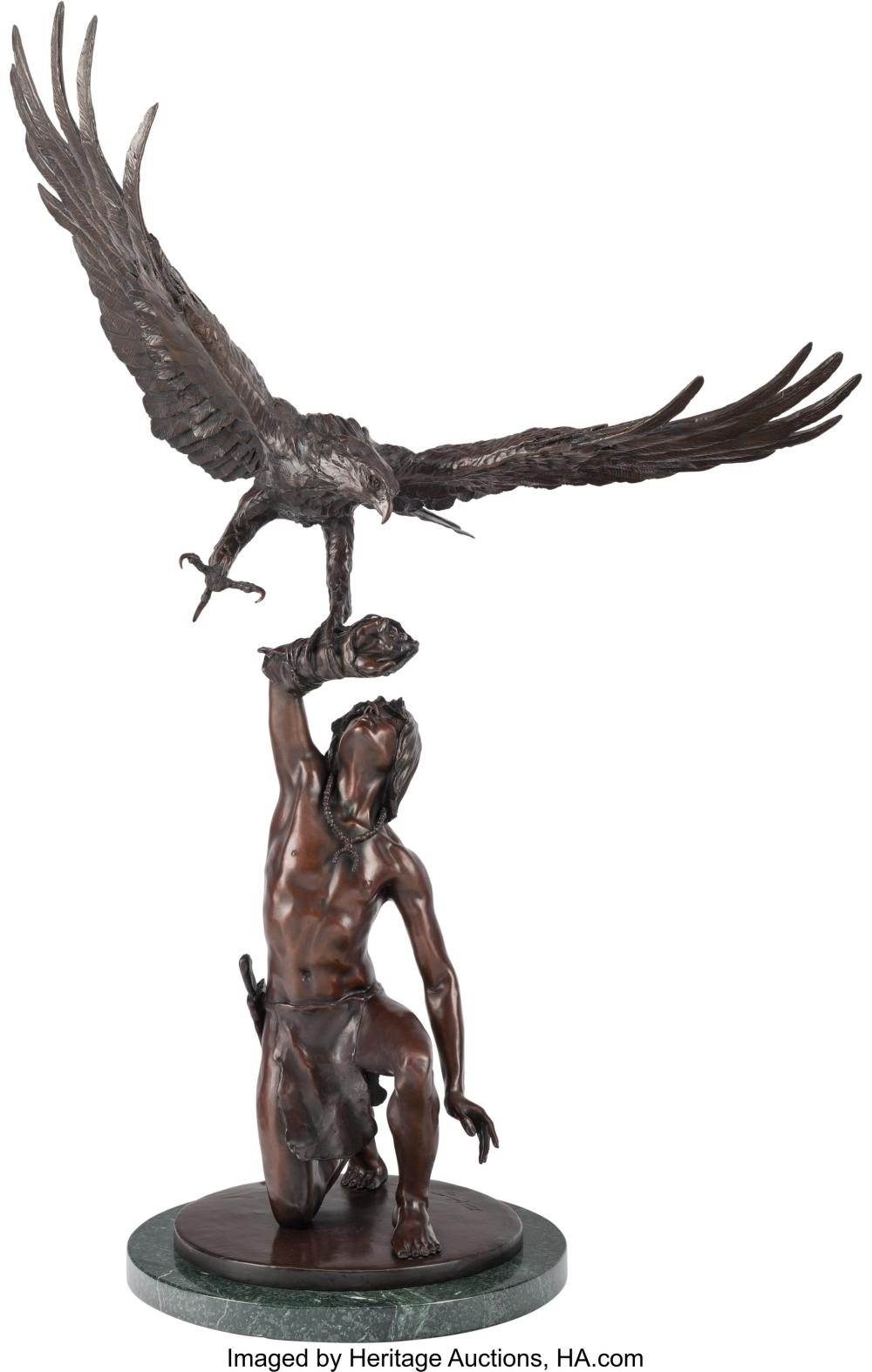 Stanley Quentin Johnson (American, 1939-2017) Eagle in Flight, 1981 Bronze with