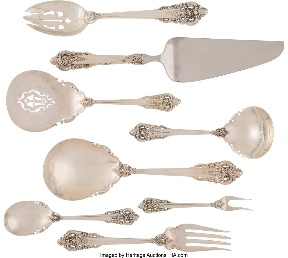 An Eight-Piece Wallace Grande Baroque Pattern Silver Serving Set, Wallingford, C