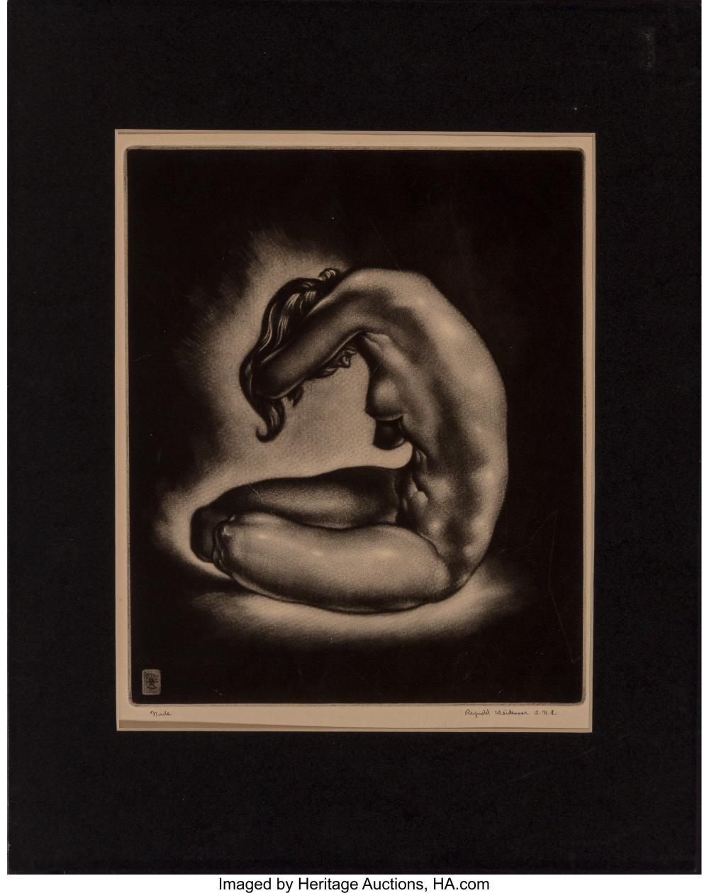 Lot 21076: Reynold Henry Weidenaar (American, 1915-1985) Reverie, c. 1940 Mezzotint on wove