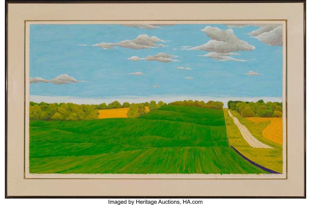 Lot 21071: Roger Laux Nelson (American, b. 1945) Stearn's County, Minnesota, 1977 Oil on pa