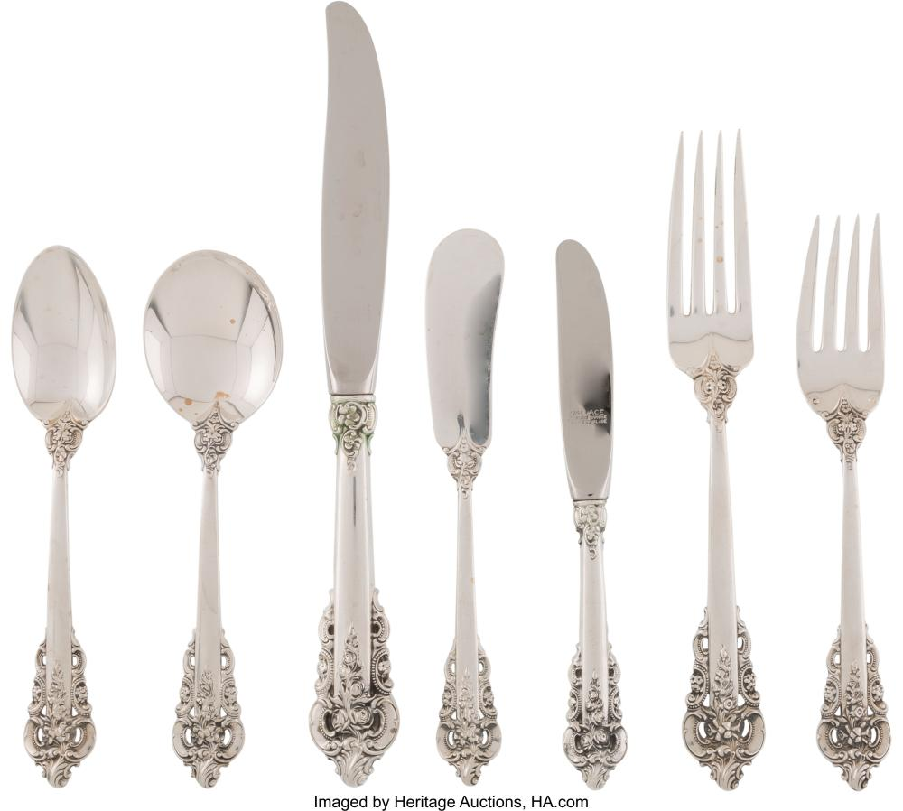 Lot 21061: An Eighty-Four Piece Wallace Grande Baroque Pattern Silver Flatware Service, Wal