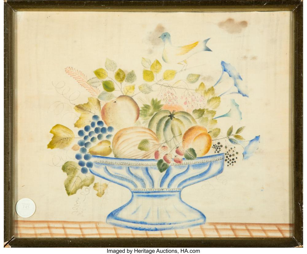 Lot 21072: American School (19th Century) Still Life with Fruit Watercolor and ink on fabri