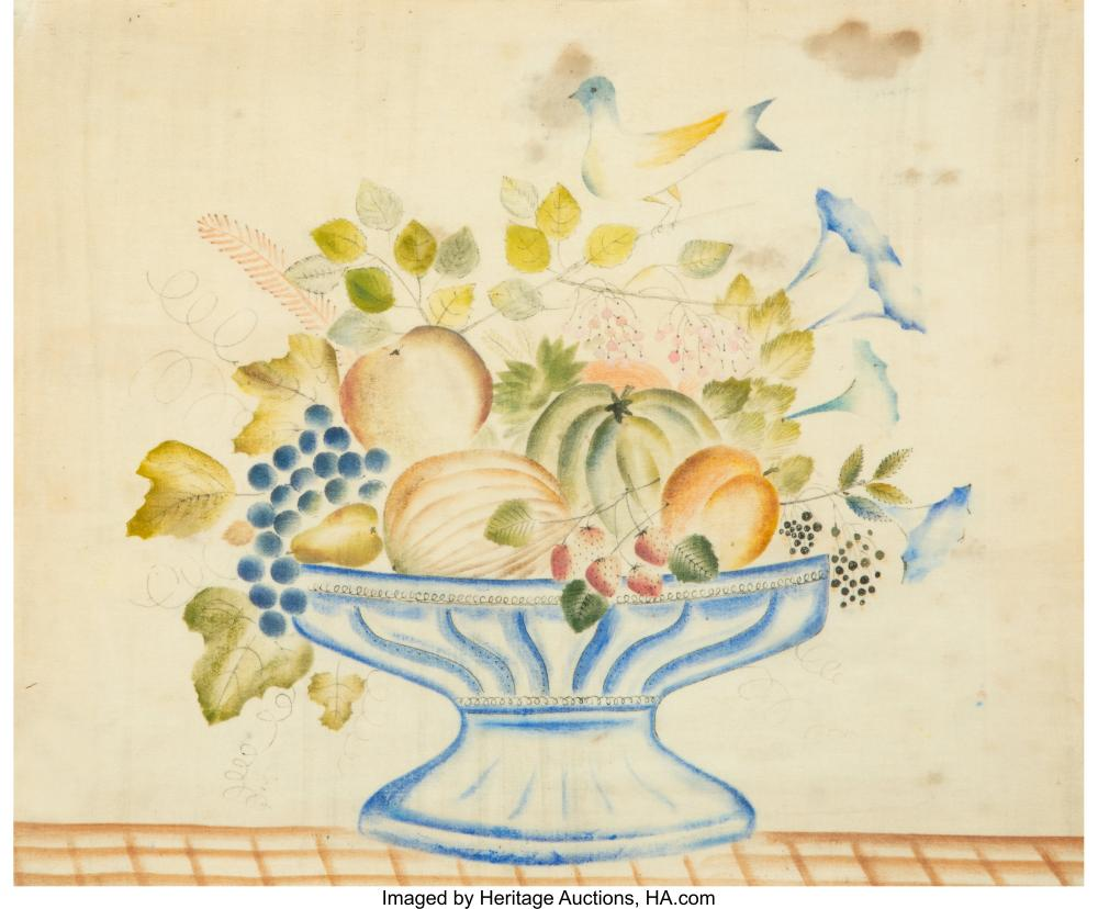 American School (19th Century) Still Life with Fruit Watercolor and ink on fabri