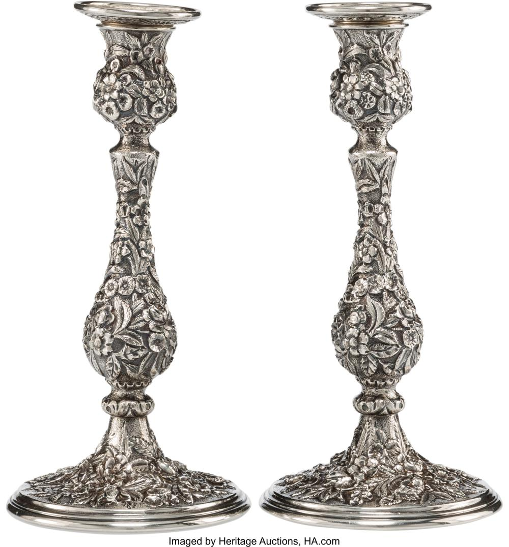 A Pair of S. Kirk & Son Repoussé Pattern Silver Weighted Candlesticks, Baltimore