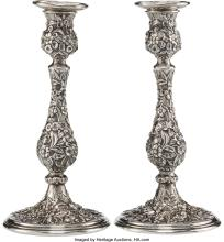 Lot 21067: A Pair of S. Kirk & Son Repoussé Pattern Silver Weighted Candlesticks, Baltimore