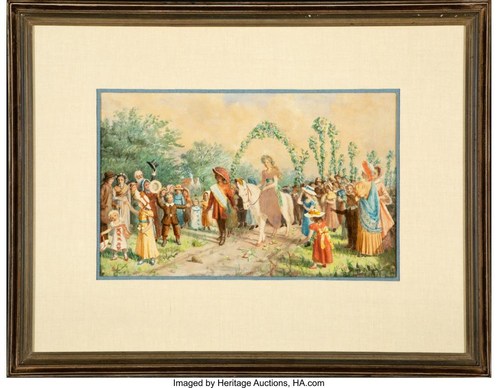 Lot 21073: Janet Collins (American, 19th Century) Village Procession, June 1887 Watercolor