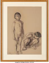 Lot 21084: Francisco Zúñiga (Mexican, 1912-1998) Niños, 1974 Crayon and pastel on Ingres Co