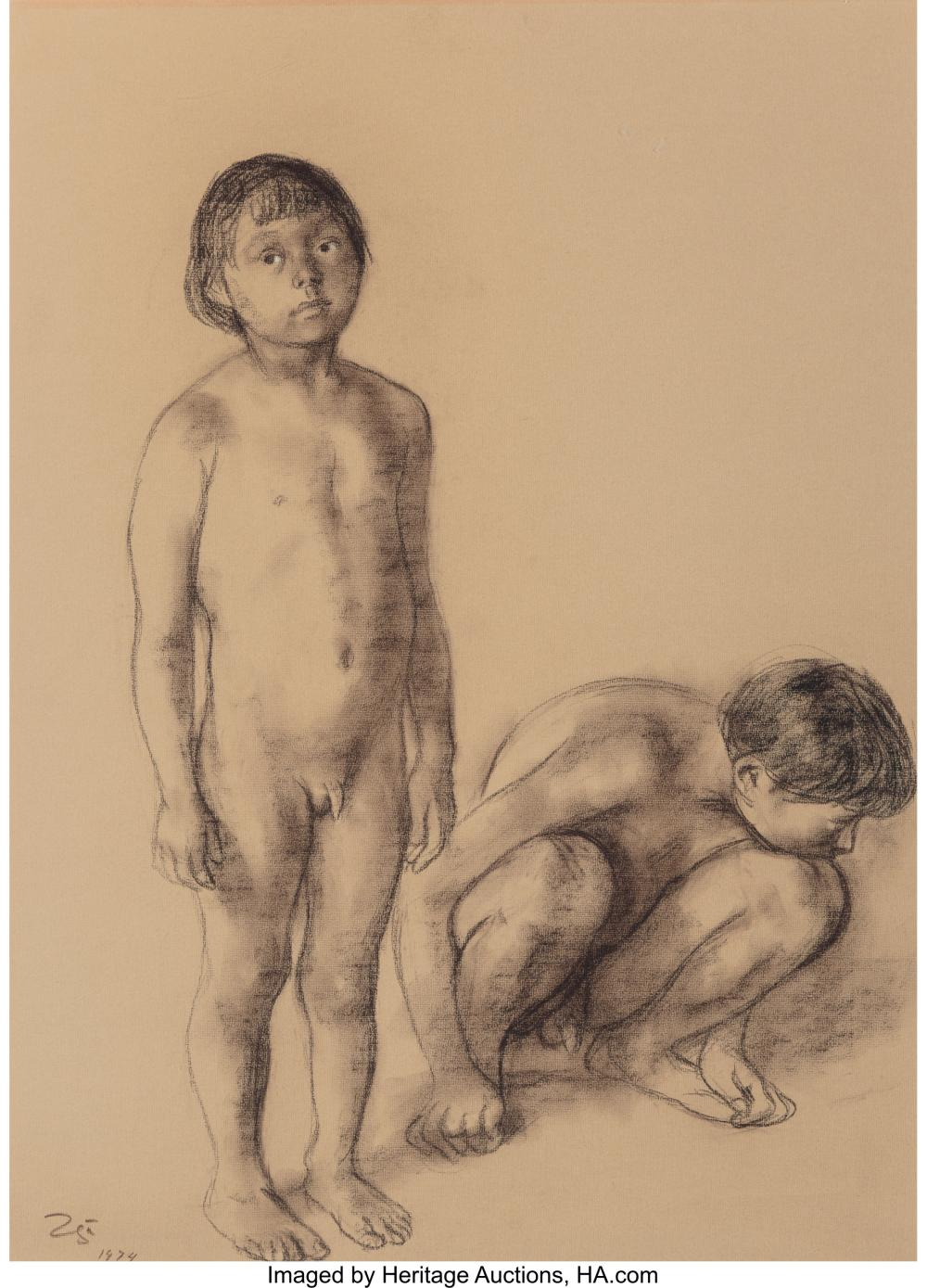 Francisco Zúñiga (Mexican, 1912-1998) Niños, 1974 Crayon and pastel on Ingres Co