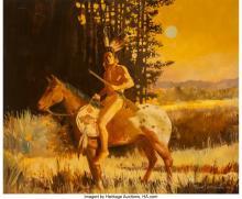 Lot 21098: Robert Orduno (American, b. 1933) On Horseback, 1980 Oil on canvas 29 x 35 inche