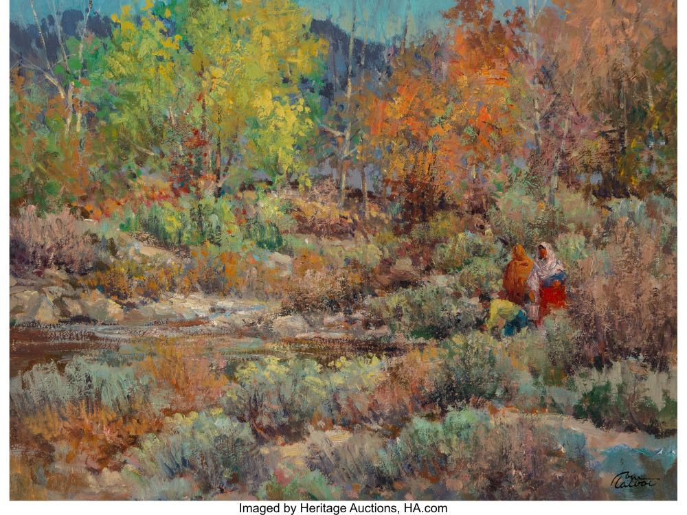 Tom Talbot (American, 1936-2009) By the Stream Oil on Masonite 18 x 24 inches (4