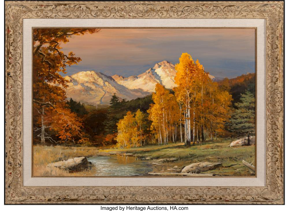 Lot 21085: Robert William Wood (American, 1889-1979) Mountain Majesty, 1972 Oil on canvas 2