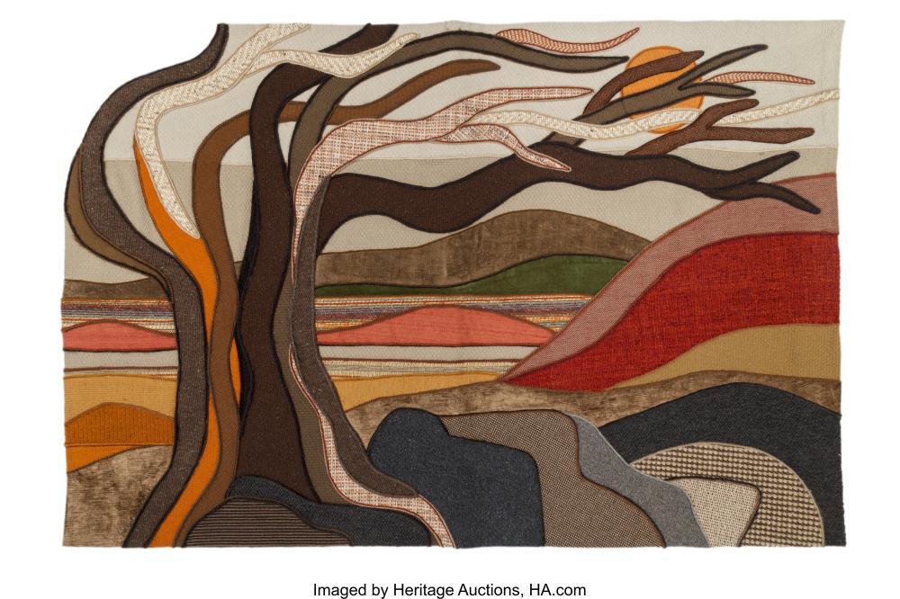 Lot 21099: Helen Webber (American, 20th Century) Sierra Ridge, 1979 Wool tapestry 41 x 60-1