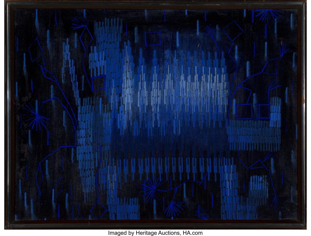 Lot 21086: Lee Mullican (American, 1919-1998) Medicine Dog, 1970 Oil on canvas 18 x 24 inch