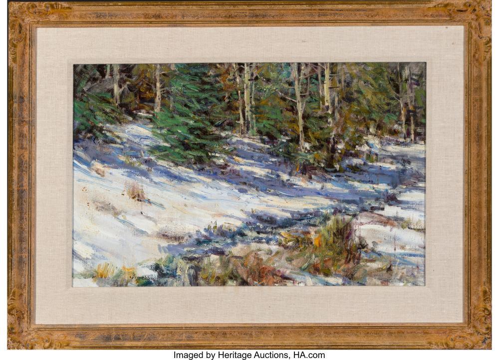 Lot 21081: Don Brackett (American, b. 1932) Winter Shadows, 1992 Oil on canvas 18 x 28 inch