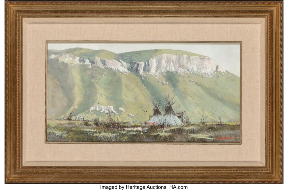 Lot 21093: Ken Longmore (American, 20th Century) Indian Camp, 1979 Gouache on illustration