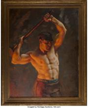 Lot 21090: John Garth (American, 1889-1971) The Iron Workers Oil on canvas 34 x 26-3/8 inch