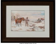 Lot 21092: George Dabich (American, 1922-2013) Mountain Man Watercolor paper laid on board