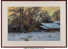 Lot 21091: Kimbal Warren (American, b. 1952) American Folk Winter, 1980 Oil on canvas 24 x