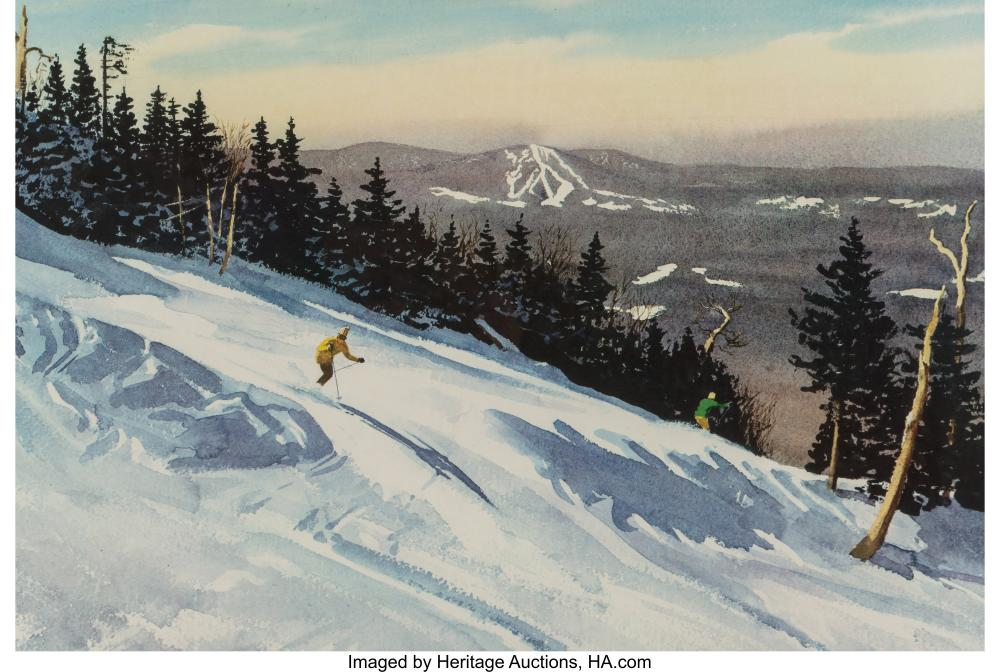 Lot 21110: After Churchill Ettinger (American, 1903-1984) Skier in Vermont Offset lithograp