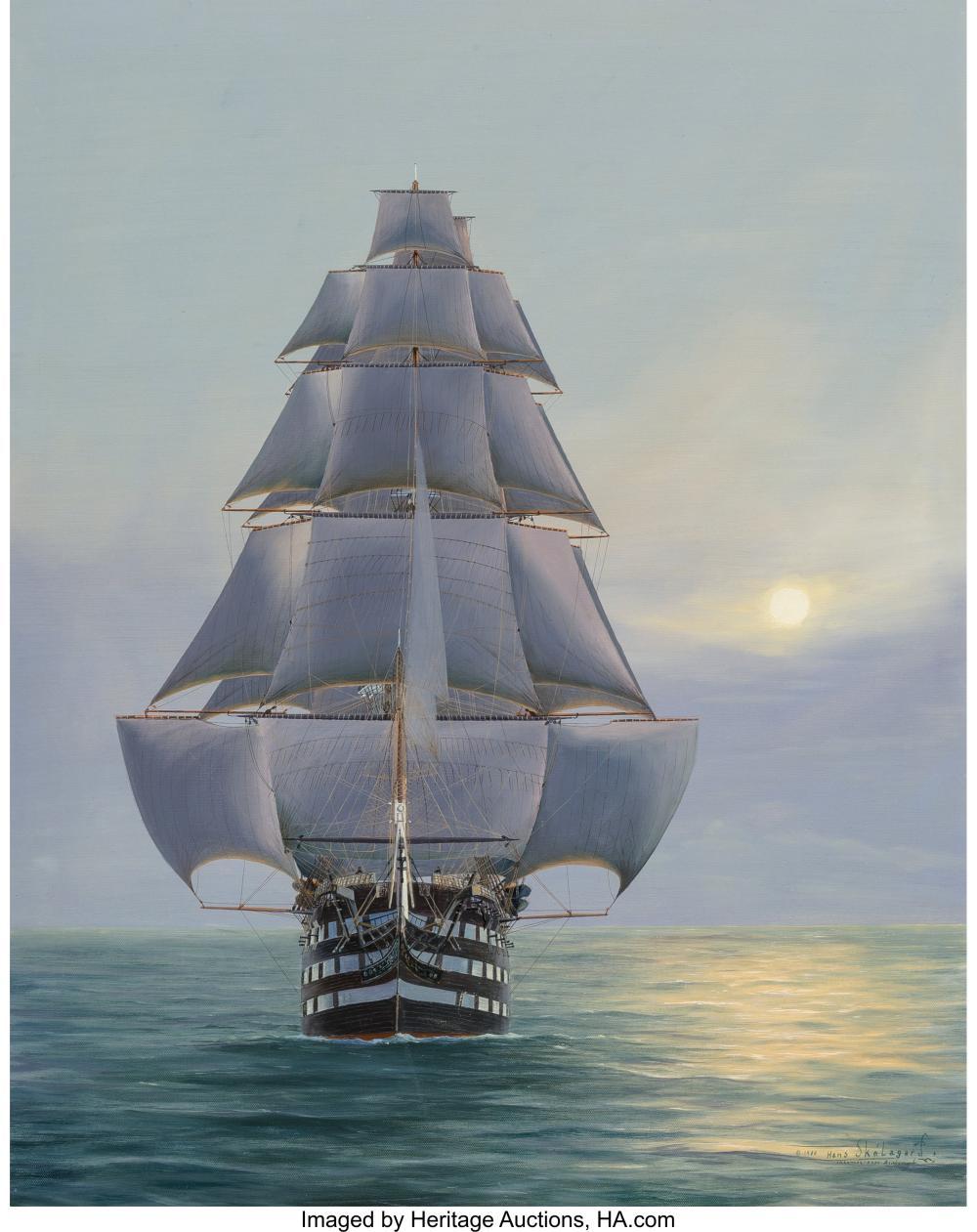 Hans Skálagard (American, b. 1923) Pennslyvania-120 Gun Ship of the Line, 1980 O