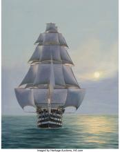 Lot 21102: Hans Skálagard (American, b. 1923) Pennslyvania-120 Gun Ship of the Line, 1980 O