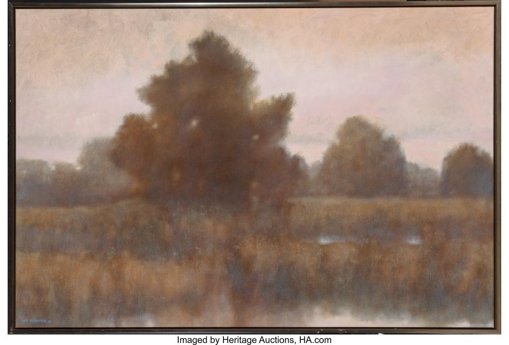 Lot 21118: Chris Burkholder (American, b. 1952) Hiram's Pond, 1984 Acrylic on canvas 48 x 7