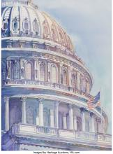 Lot 21104: Linda Southern (American, 20th century) Capitol Watercolor 30 x 22 inches (76.2