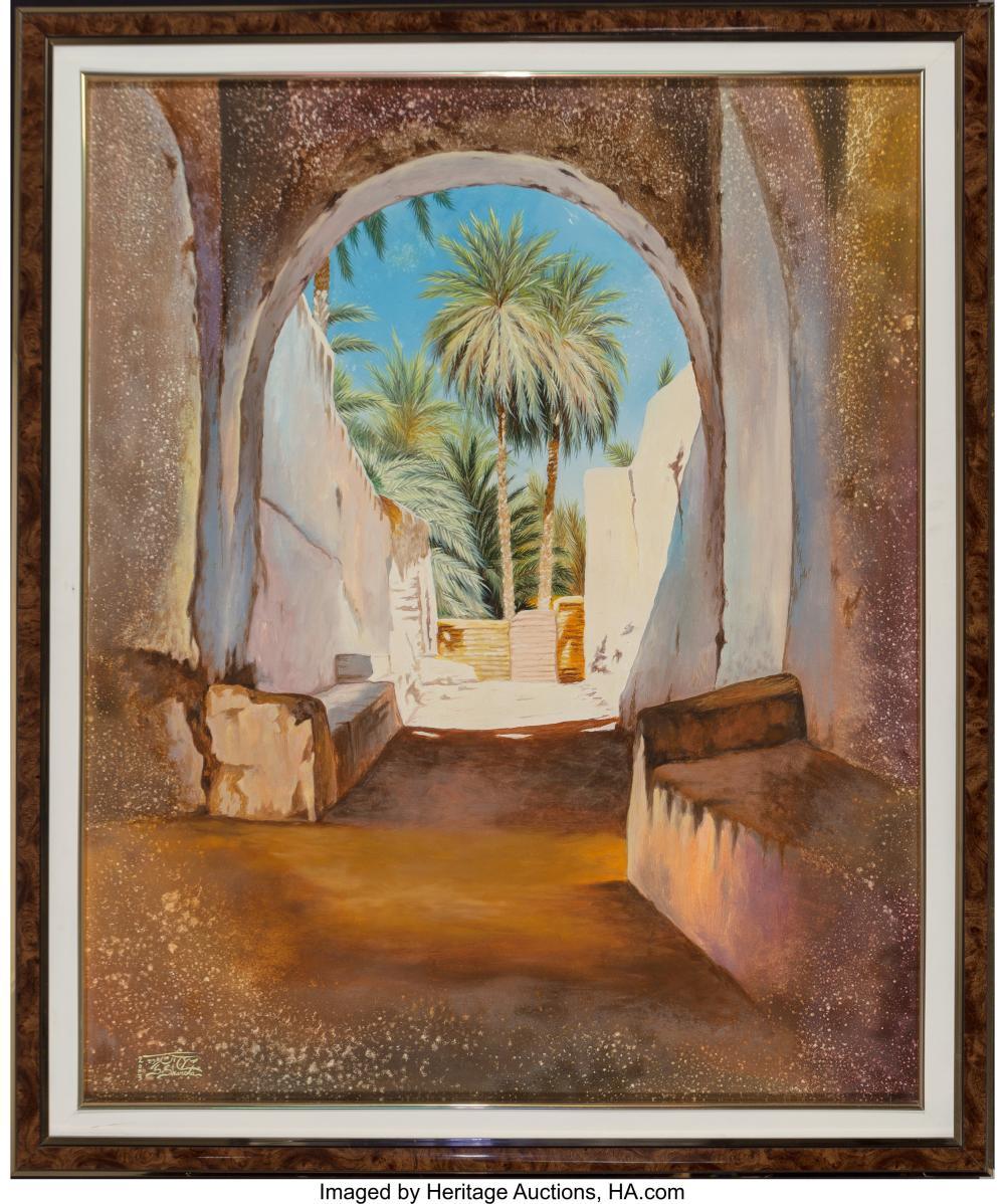 Lot 21108: S. Sharota (American, 20th Century) Desert Courtyard, 2003 Oil on canvas 41-1/2