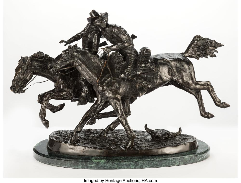 A Reproduction Bronze of The Wounded Bunkie After Frederick Remington 21 x 32 x