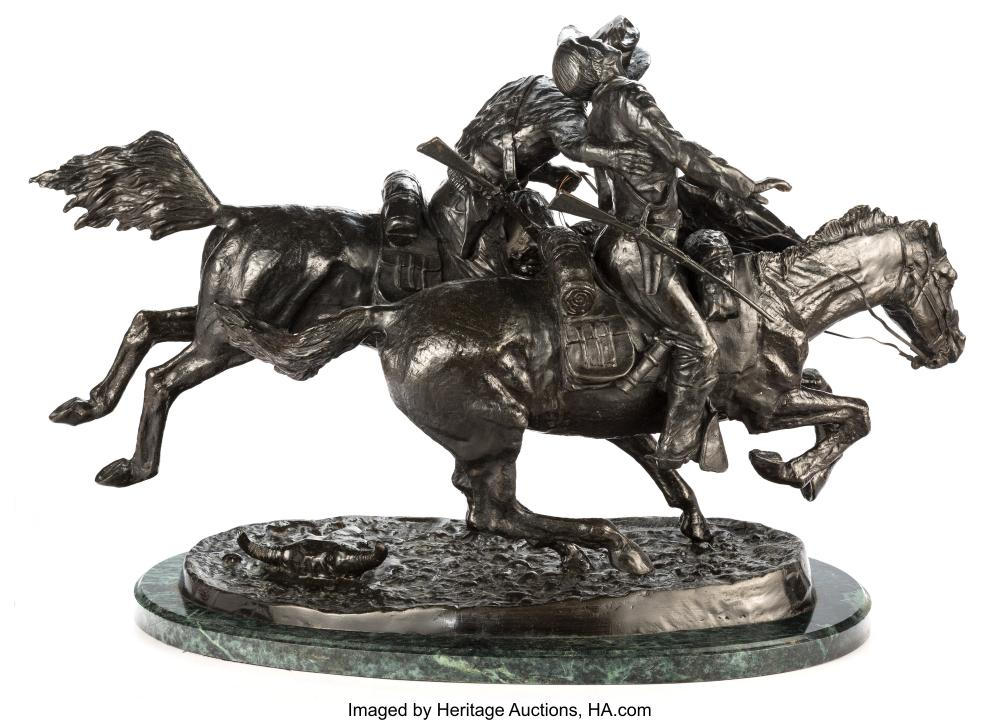 Lot 21105: A Reproduction Bronze of The Wounded Bunkie After Frederick Remington 21 x 32 x
